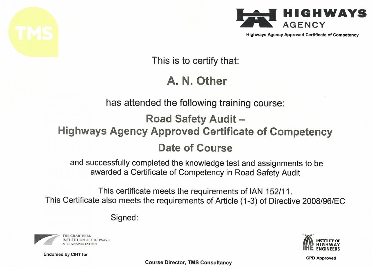Tms issues 100th highways agency accredited road safety audit tms issues 100th highways agency accredited road safety audit certificate of competency xflitez Gallery